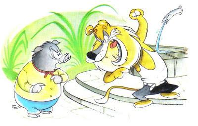 fabula corta el leon y el jabali