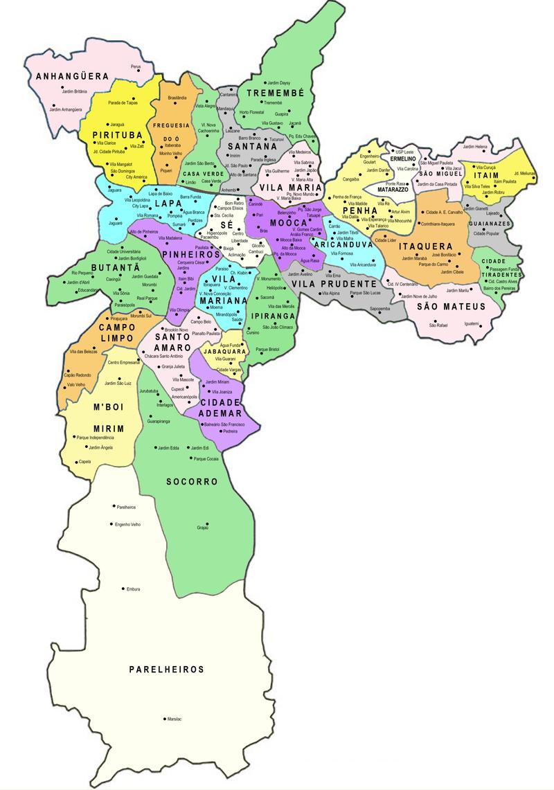 Mapa 2: Prefeituras Regionais de São Paulo