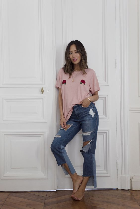 Aimee Song - Rose Bud T-shirt + Destroyed Hem Ripped  Blue Jeans