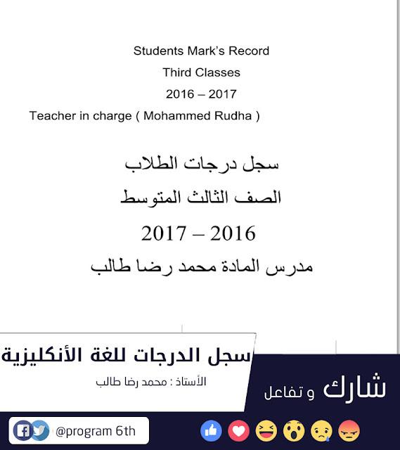 سجل الدرجات جاهز للتعديل بصيغة ملف وورد للصف الثالث المتوسط لمادة اللغة الانكليزية