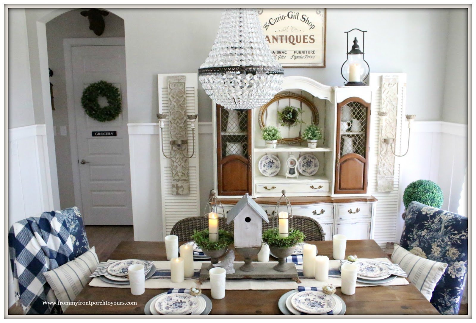French Country Farmhouse Dining Room Spring Decor Buffalo Check Blue And White