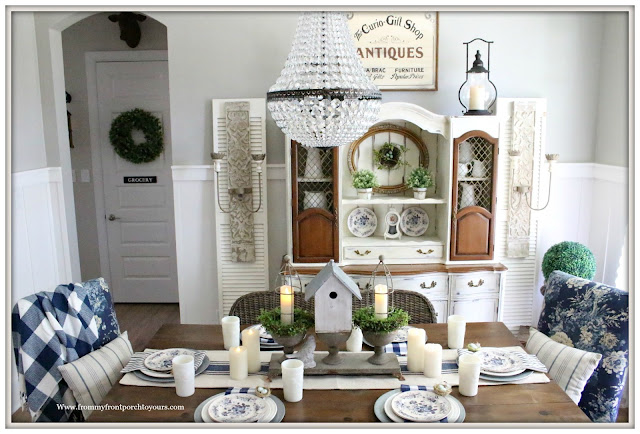 French Country Farmhouse-Dining Room-Spring Decor-Buffalo Check-Blue and White-French Farmhouse-From My Front Porch To Yours