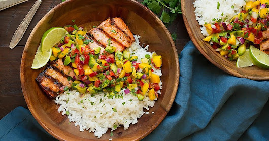 SALMON WITH AVO-MANGO SALSA AND COCONUT RICE