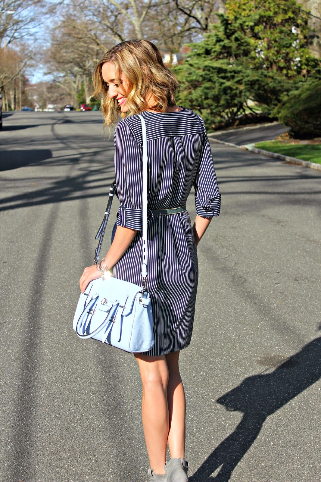 loft striped shirtdress