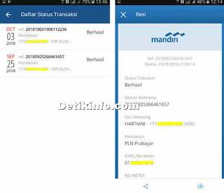 daftar resi transaksi dari aplikasi mandiri mobile