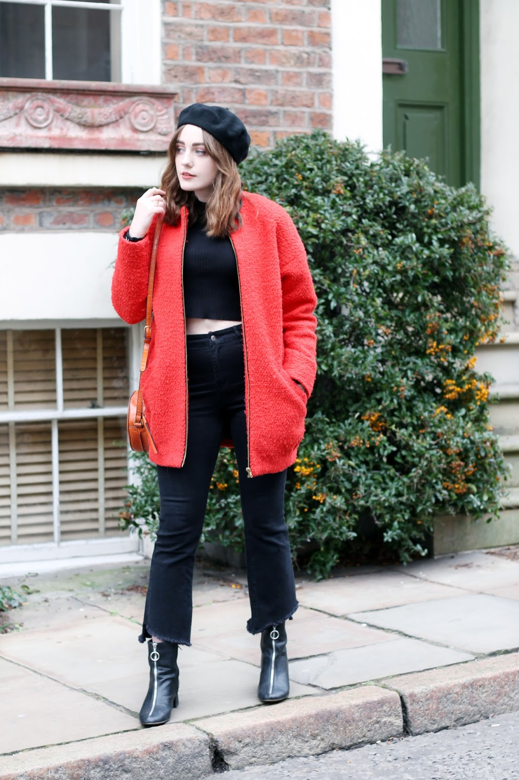 January 2018 outfit with orange and black