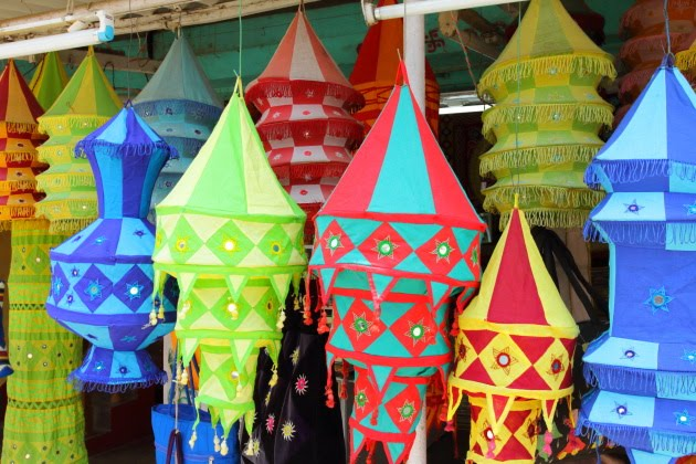 Chandua art lampshades hanging outside the shops of Pipili, Odisha