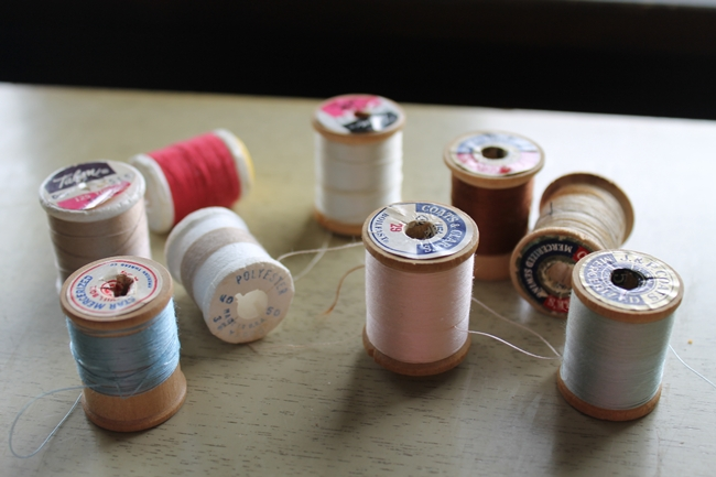vintage thread spools from the attic of an old asylum