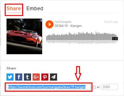 Contoh gambar ilustrasi share lagu di SoundCloud
