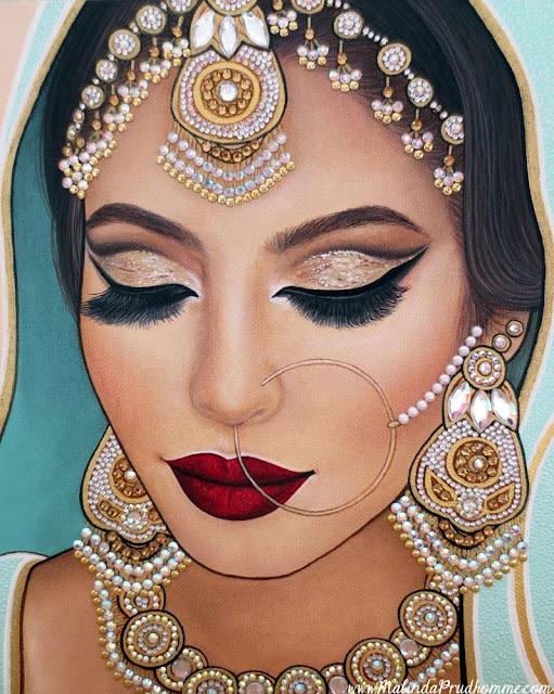 indian bride, indian beauty, bride, indian, indian woman, painting, portrait painting, toronto portrait artist, gems, jewelry painting, sikh, portrait time breakdown