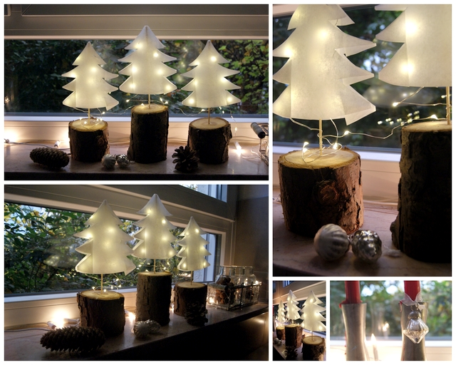 Weihnachtsdeko für die Fensterbank Bäumchen aus Papier