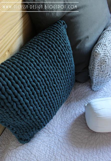 Dodatki do wnętrz, dziergane poduszki i pled