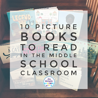 Using picture books in your classroom can engage reluctant readers, help introduce a lesson, and build community. Check out tips & resources for using picture books in middle school from The Hanson Hallway at The Secondary English Coffee Shop