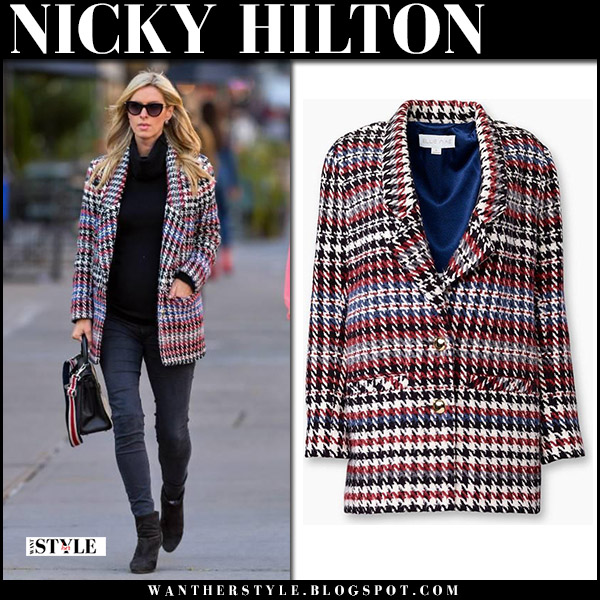 Nicky Hilton in red and black houndstooth jacket ellie mae street fall fashion october 17 2017