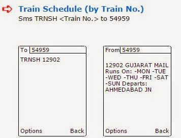 train schedule by sms to 54959
