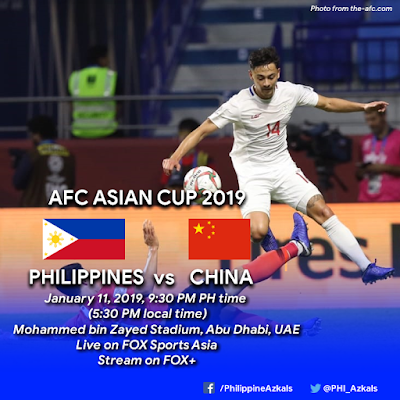 Philippines vs China Live Streaming AFC 2019 (11.1.2019)