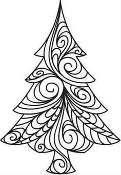 Zentangle, rustgevend tekenen: Zentangle, kerstbomen