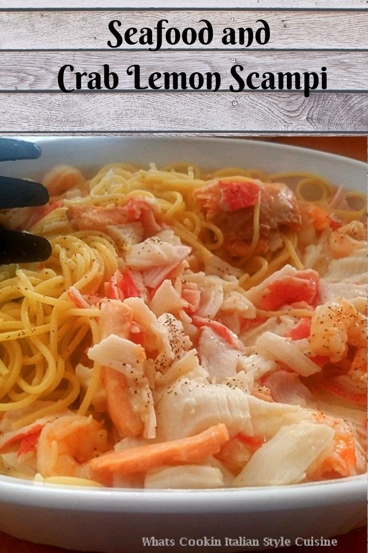 this is a seafood scampi over pasta and with all kinds of shell fish and also haddock and other white fish