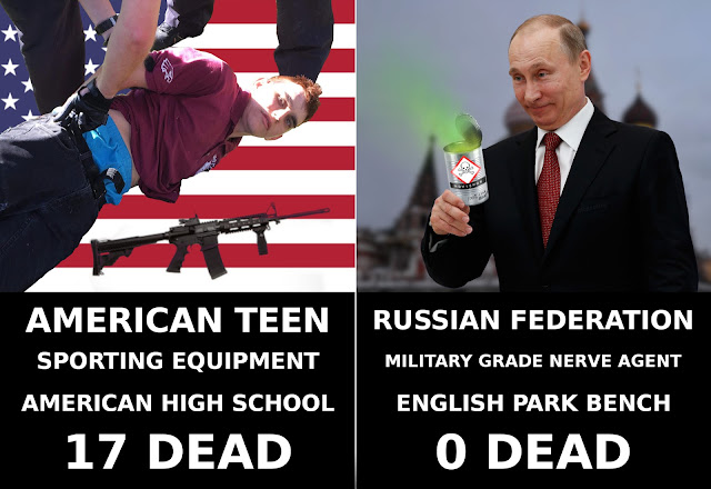 An image comparing two news stories. On the top left: 19-year-old mass-shotting killer Nikolas Cruz being arrested on the ground. The ground is replaced with the american flag and the image of an AR-15 assault rifle is included. Underneath are the stats: 'AMERICAN TEEN, SPORTING EQUIPMENT, AMERICAN HIGH SCHOOL, 17 DEAD'. On the top right-hand side of the image: A silly-looking Владимир Путин (Vladimir Putin) stands in front of St. Basil's Cathedral. In his hand, an open tin-can with noxious green fumes emanating from it. THe tin-can has warning symbols and 'NOVICHOK' labels. At the bottom of the can in hand writing are the words: '100% cyka blyat!'. Underneath are the stats: 'RUSSIAN FEDERATION,MILITARY GRADE NERVE AGENT, ENGLISH PARK BENCH, 0 DEAD.'