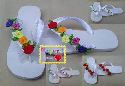 calçados com flores de crochê passo a passo diversas