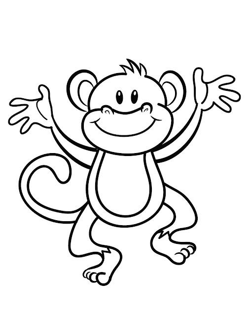 Mewarnai Gambar Hewan Monki Si Monyet Lucu Aneka Mewarnai