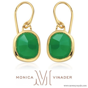 Kate Middleton wore Monica Vinader Gold Vermeil Green Onyx Siren Wire Earrings
