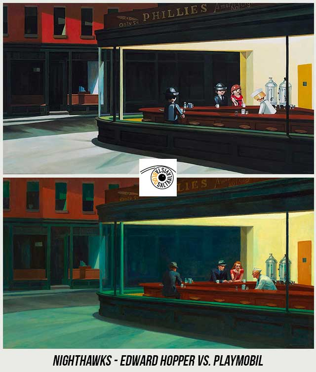 Cuadro-Nighthawks-de-Edward-Hopper-Hecho-con-Playmobil