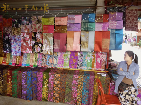 Myanmar cloth for sale in Mae Sai, Thailand