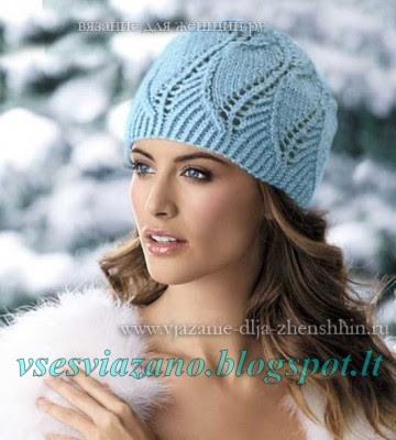 Нарядная голубая шапочка к первым холодам
