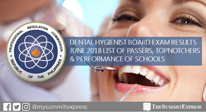 FULL RESULTS: June 2018 Dental Hygienist board exam list of passers, topnotchers