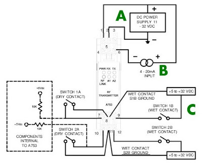 wiring diagram for Analynk wireless receiver or transmitter