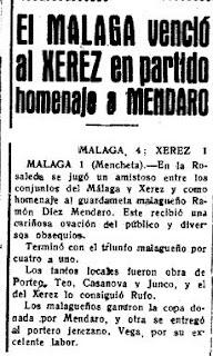 Homenaje a un portero mítico, Mendaro.