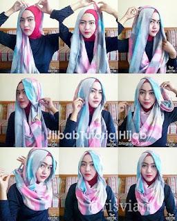 tutorial jilbab pesta segi empat dua warna