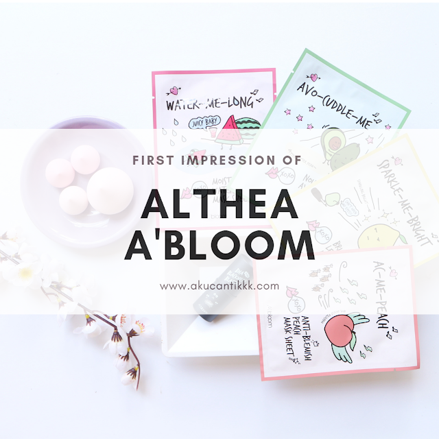 ALTHEA A'BLOOM SHEET MASK, A'BLOOM GIANT MERINGUE PUFFS & A'BLOOM BLACKHEAD BLASTER FIRST IMPRESSION