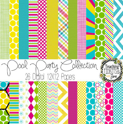 Digital Paper Collection for Personal or Commercial Use in Bright Bold Colors