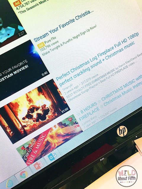 Crackling fireplace with Christmas music to use during a classroom read-in.
