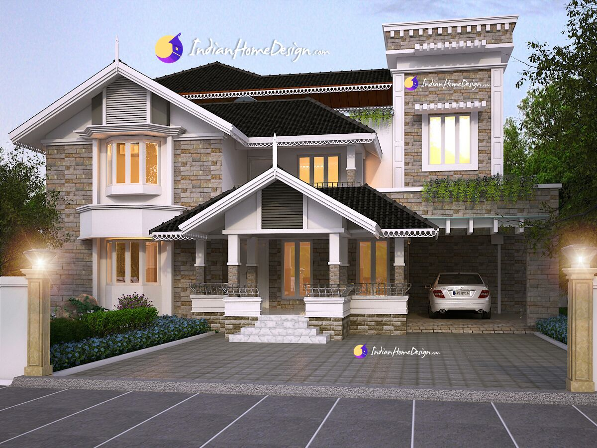 3820  Sq ft Kerala Home design based on Western design theme Inspire Homes North paravur Kochi
