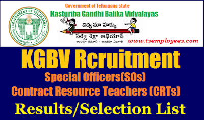 TS KGBV SOs CRTs Results Selection List 2017 @ ssa.nic.in