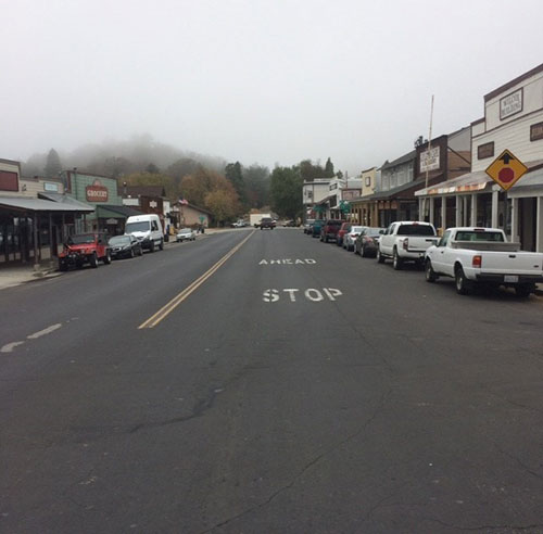 Pretty sleepy Main Street with still cloudy morning skies in Julian, CA