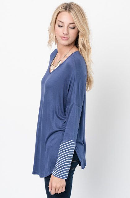 Buy Now Blue V-Neck Striped Panel Sleeve Tunic Online - $34 -@caralase.com