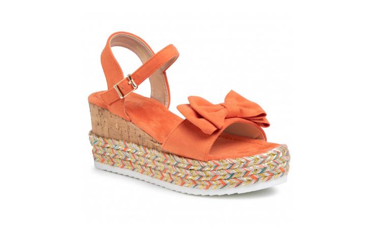 Sandale casual portocaliu cu platforma de vara din piele eco intoarsa cu fundita