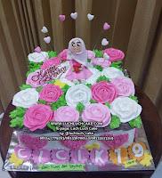 Kue Tart Hias Bunga Pink Cantik