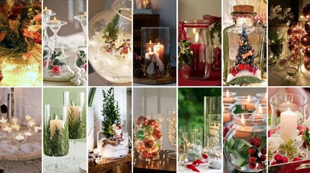 Εύκολες χριστουγεννιάτικες συνθέσεις με γυάλινα αντικείμενα