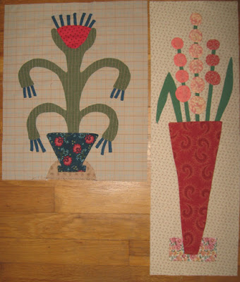 Two blocks from Linda Brannock's Flowers Quilt