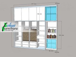 Gambar desain lemari pakaian dan rak buku pajangan