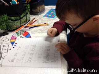 decorating his verse with stickers