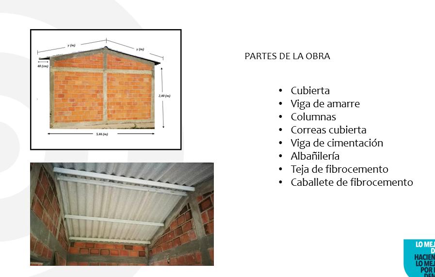 partes de obras: cubiertas, viga de amarre, columnas, correoas cubiertas, viga de cimentacion, albañileria, teja de fibrocemento, caballete de frobrocemento