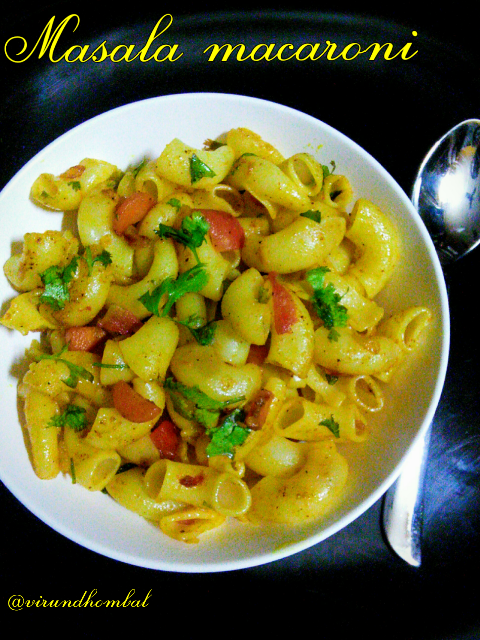 Masala macaroni - macaronis flavoured with masalas, mint leaves, garlics and sauted with vegetables, is enjoyable for kids. This masala macaroni is easy to make for evening tiffin for your kids. Before tossing with the vegetables the macaronis are cooked in plenty of water and drained well. You can add any vegetables as you wish and any macaronis. For this masala macaroni the mint leaves give some unique flavour and taste. Cooking the macaronis can take a few minutes, so cooking them in advance allows minimal work when your kids arrive you can prepare within a couple of seconds.
