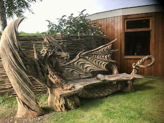 Carved dragon bench.