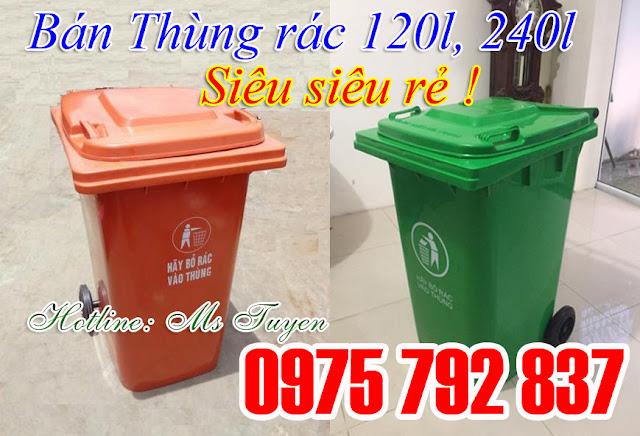 Thùng rác 240 lít, giá rẻ tại xưởng